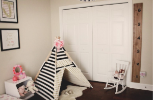 Teepee as a transitional baby floor bed