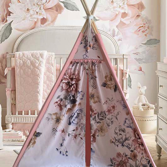 Millennial pink teepee with floral front