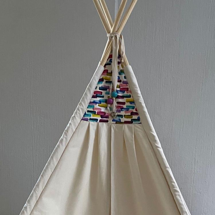 Cream Teepee with multi colour triangle